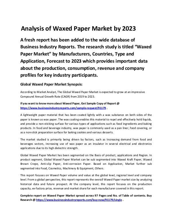 Market Analysis Report Waxed Paper Market Report 2019