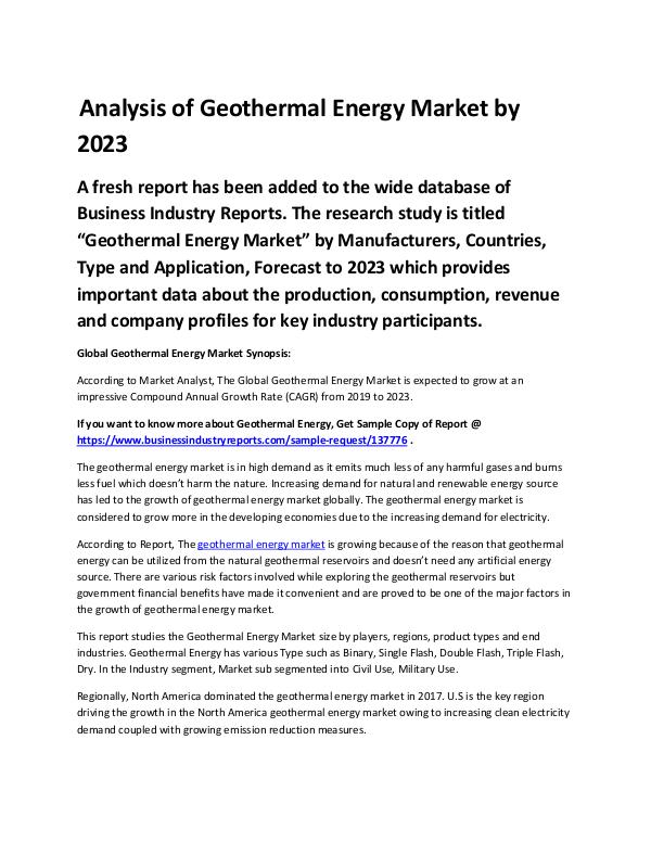 Market Analysis Report Latest Trends in Geothermal Energy Market2019-2023
