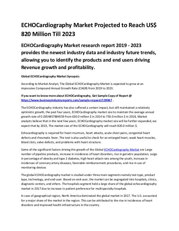 Market Analysis Report Global ECHOCardiography Market Report 2019