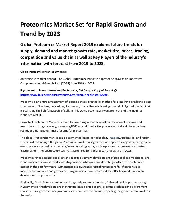 Market Analysis Report Proteomics Market