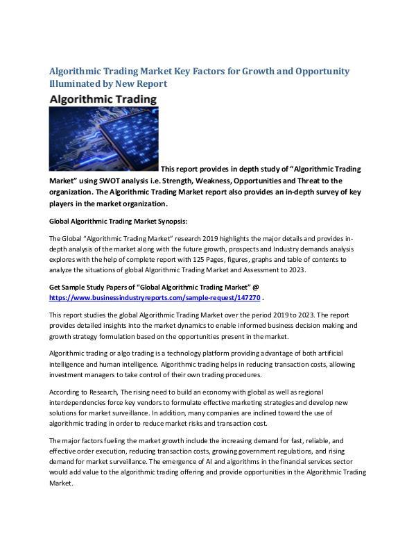 Market Analysis Report Algorithmic Trading Market
