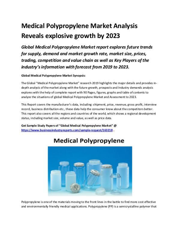 Market Analysis Report Medical Polypropylene Market 2019 | Joomag