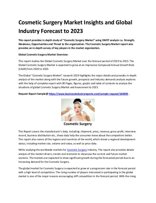 Market Analysis Report Cosmetic Surgery Market Report 2019