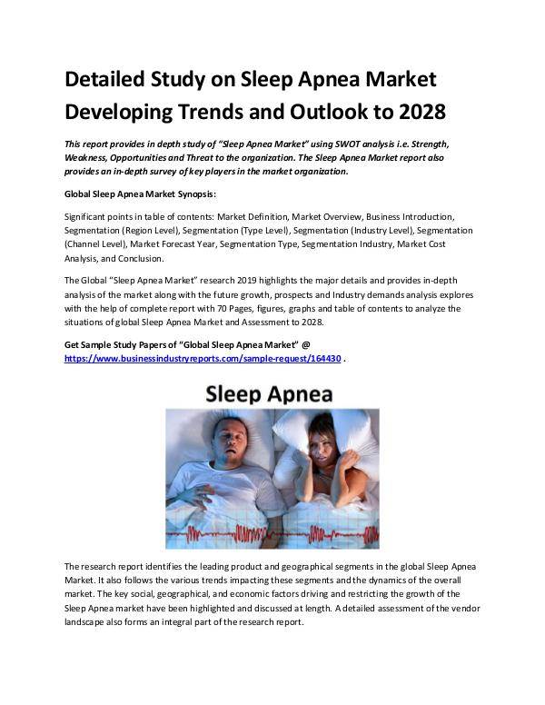 Market Analysis Report Sleep Apnea Market 2019 - 2028