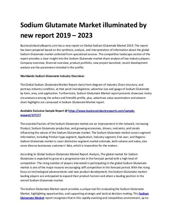Sodium glutamate market Analysis by 2023