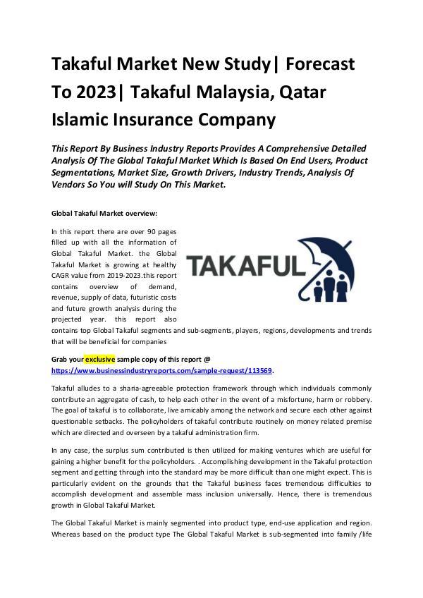 Takaful Market New Study 2029-2023