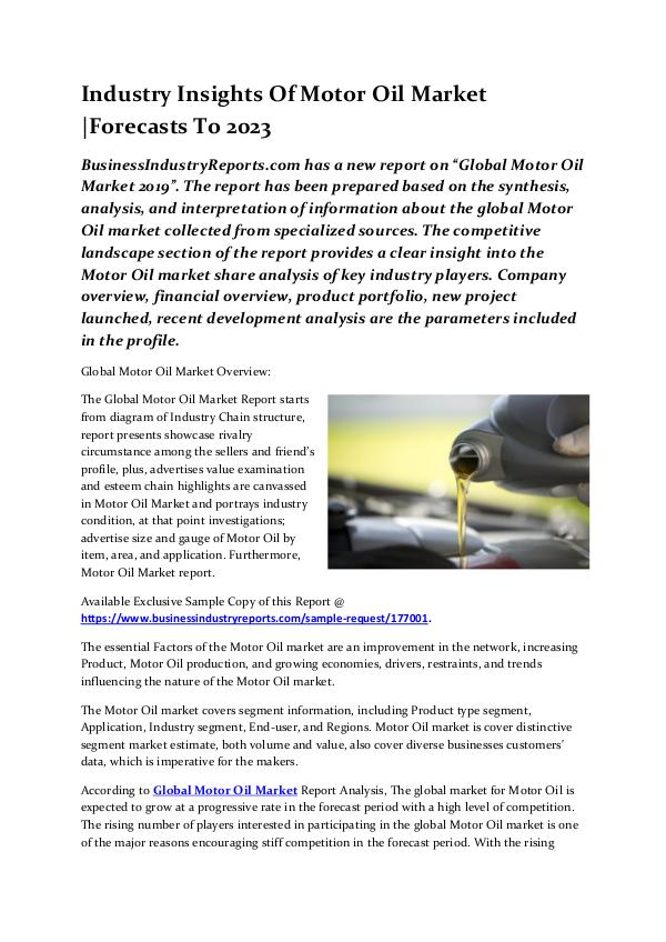 Industry Insights Of Motor Oil Market |Forecasts T