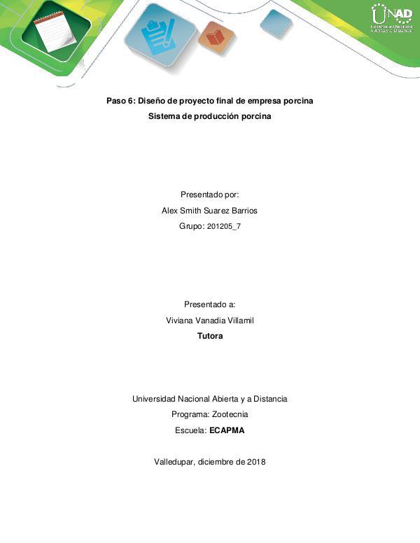 Proyecto planteamiento granja porcicola PASO 6 PROYECTO REVISTA PORCICOLA FINAL