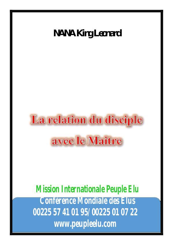 Magazine des Elus de Dieu La relation du disciple et son maitre