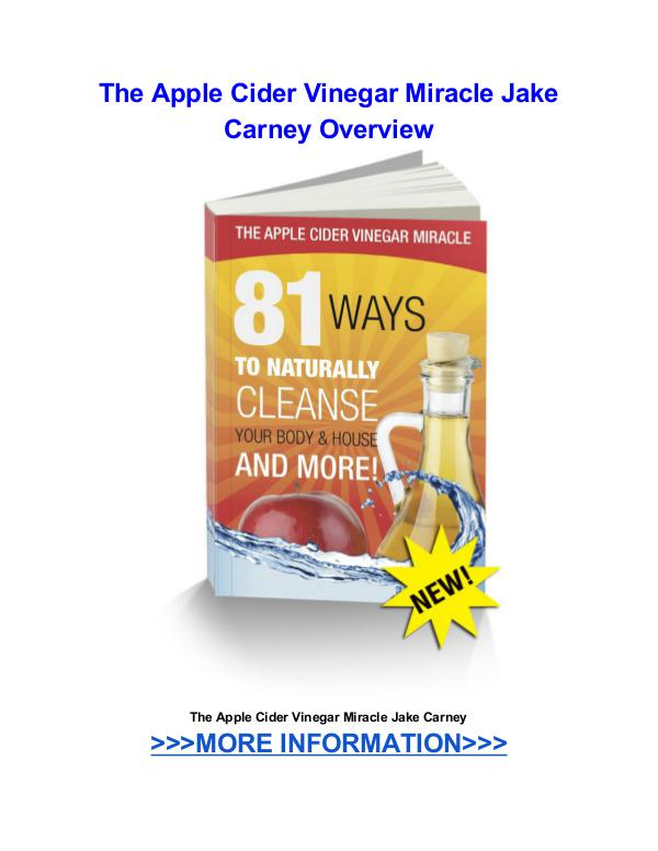 The Apple Cider Vinegar Miracle Jake Carney The Apple Cider Vinegar Miracle Jake Carney review