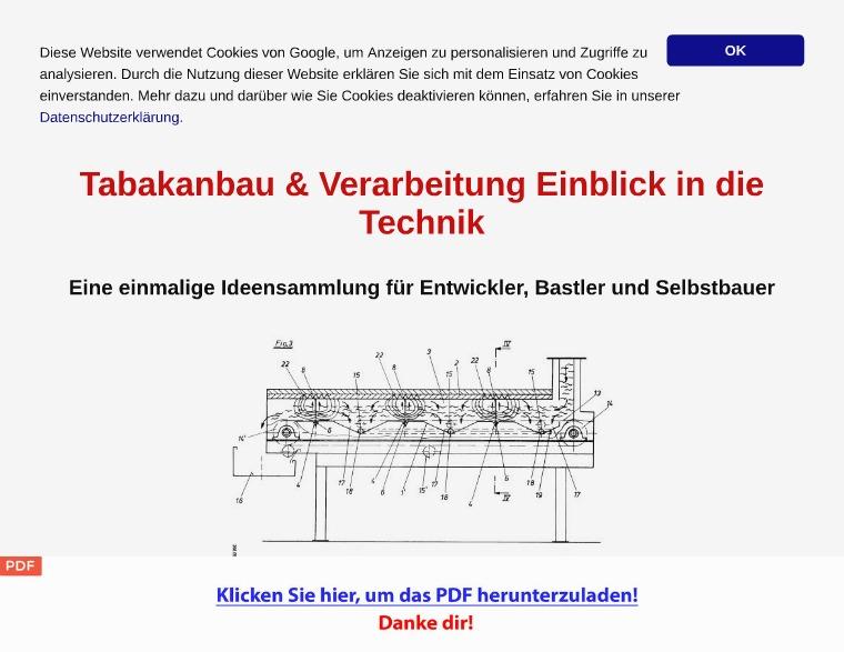 Tabakanbau Verarbeitung Technik Patentschriften [PDF]