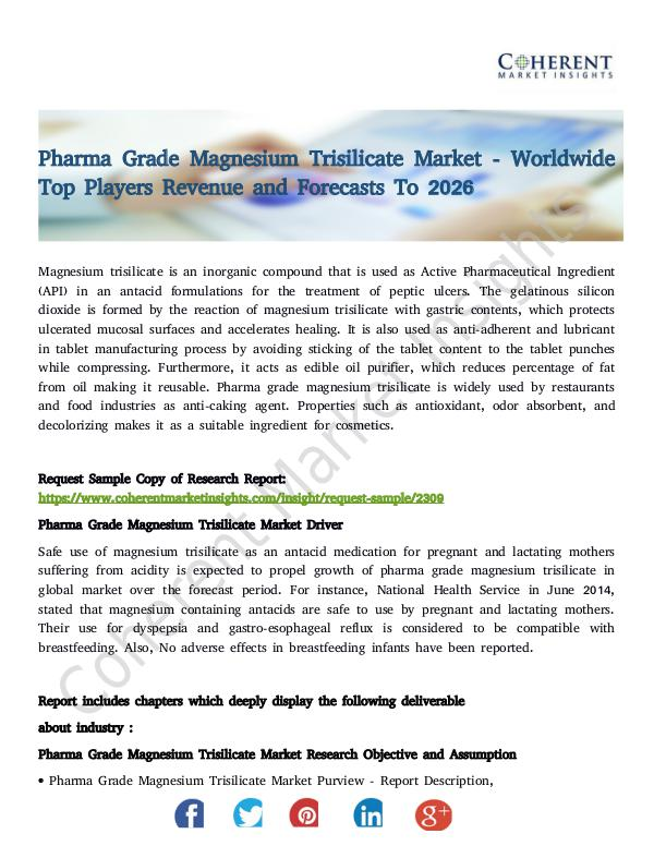 Stairlifts Market: Foresees Skyrocketing Growth in the Coming Years Pharma Grade Magnesium Trisilicate Market