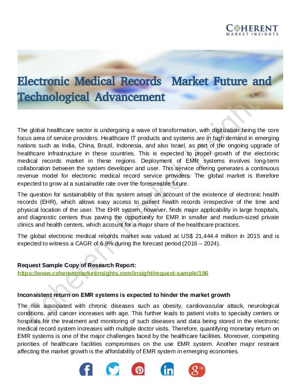 Stairlifts Market: Foresees Skyrocketing Growth in the Coming Years Electronic Medical Records  Market