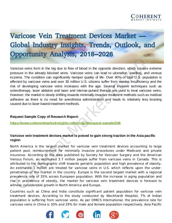Stairlifts Market: Foresees Skyrocketing Growth in the Coming Years Varicose Vein Treatment Devices Market