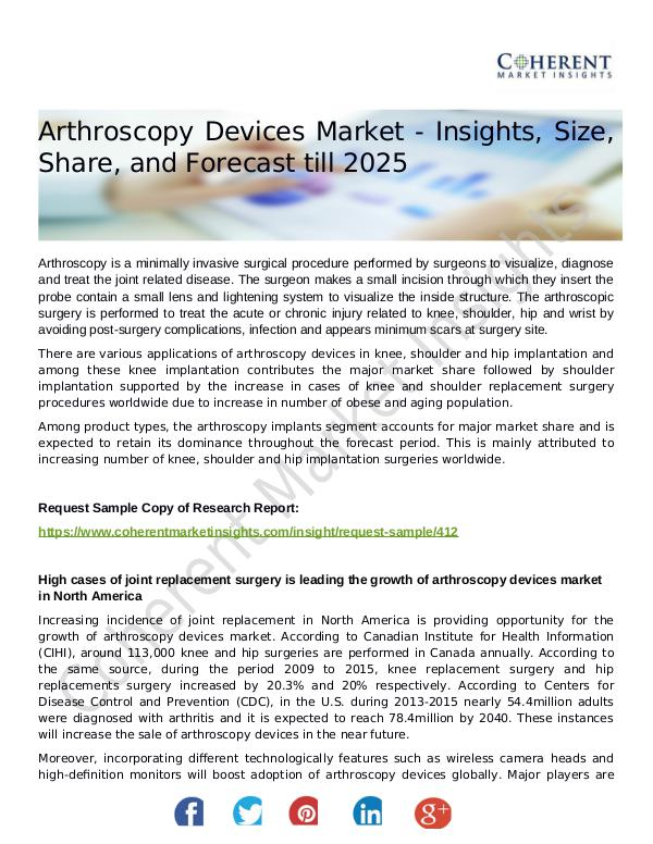 Stairlifts Market: Foresees Skyrocketing Growth in the Coming Years Arthroscopy Devices Market