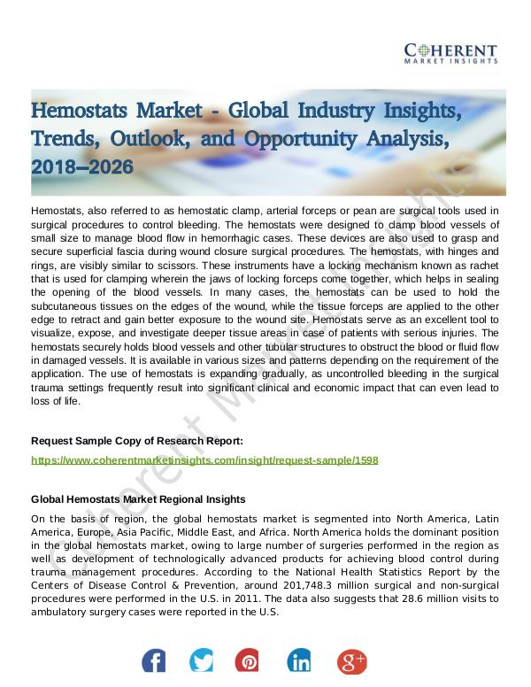 Stairlifts Market: Foresees Skyrocketing Growth in the Coming Years Hemostats Market