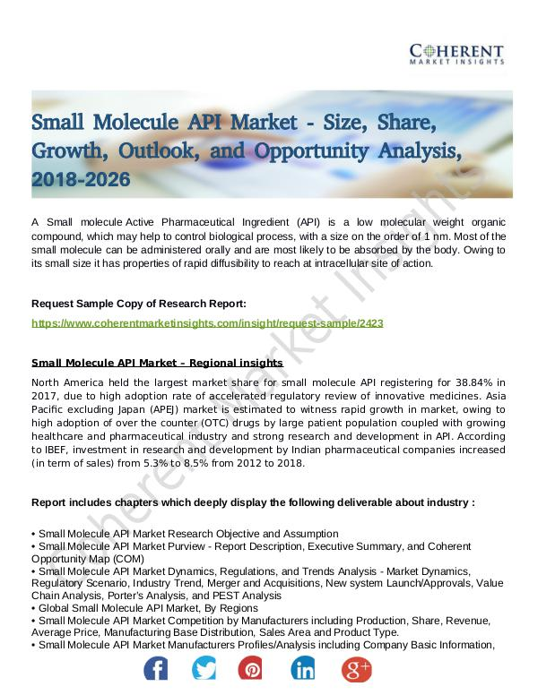 Stairlifts Market: Foresees Skyrocketing Growth in the Coming Years Small Molecule API Market