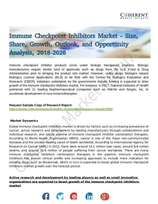 Stairlifts Market: Foresees Skyrocketing Growth in the Coming Years Immune Checkpoint Inhibitors Market