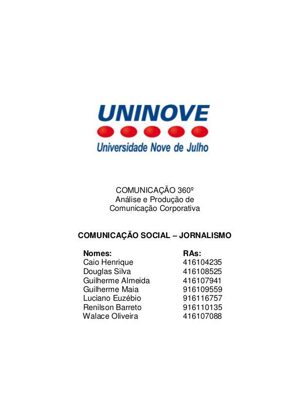 Projeto Integrado - Relatório Comunicação Institucional Aes Eletropaulo  - PROJETO FINAL ATUALIZADO