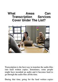 What Areas Can Transcription Services Cover Under The List?