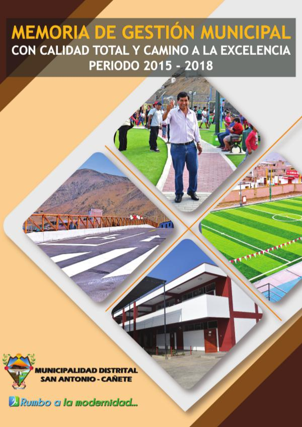 MUNICIPALIDAD DISTRITAL DE SAN ANTONIO Memoria Gestión 2015-2018 de la MDSA