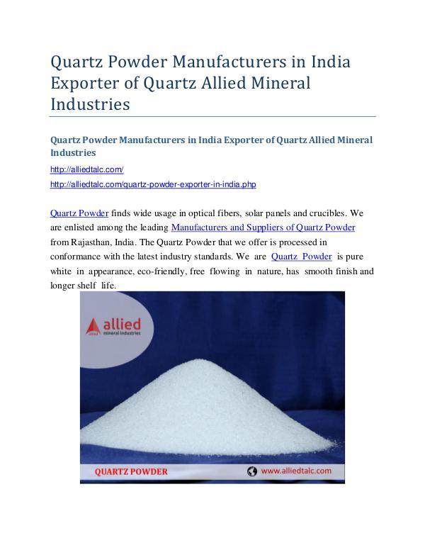 Quartz Powder Manufacturers in India Exporter of Quartz Allied Minera Quartz Powder Manufacturers in India Exporter of Q