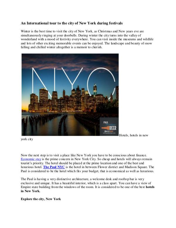 An International tour to the city of New York during festivals An International tour to the city of New York duri