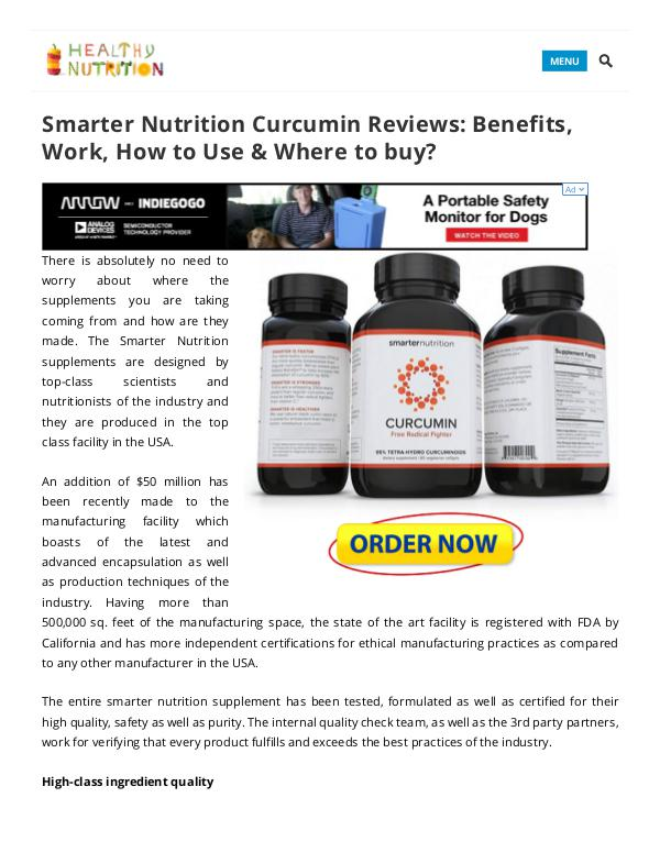 Smarter Nutrition Curcumin Supplement Benefits,Side Effects Smarter Nutrition Curcumin