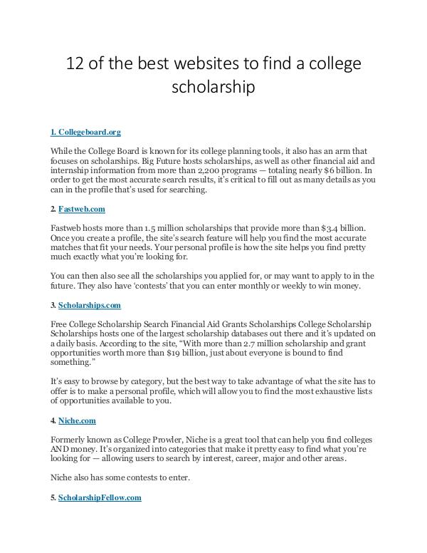 Scholarship Sharing Websites list 12 of the best websites to find a college scholars