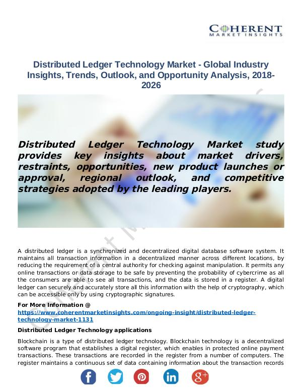 Christy Publications Distributed Ledger Technology Market