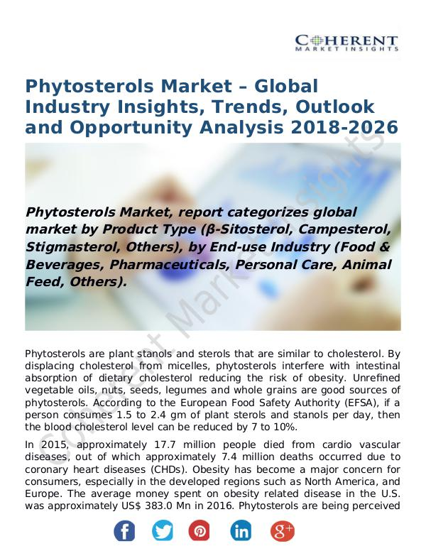 Phytosterols Market – Global Industry Insights, Trends, Outlook and O Phytosterols Market