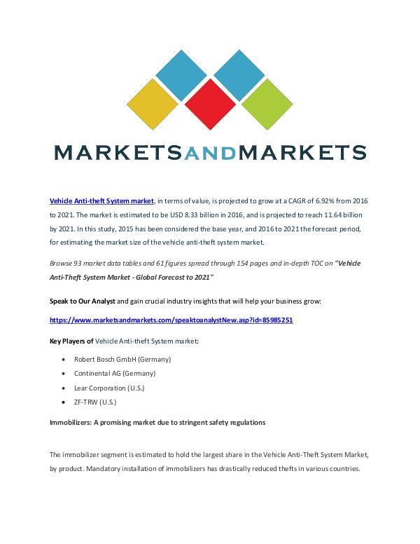Vehicle Anti-Theft System Market