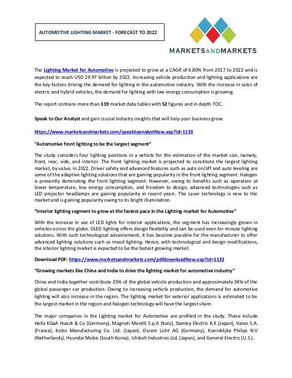 Automotive Market Revenue, Trends, Growth, Technologies, CAGR Automotive Lighting Market