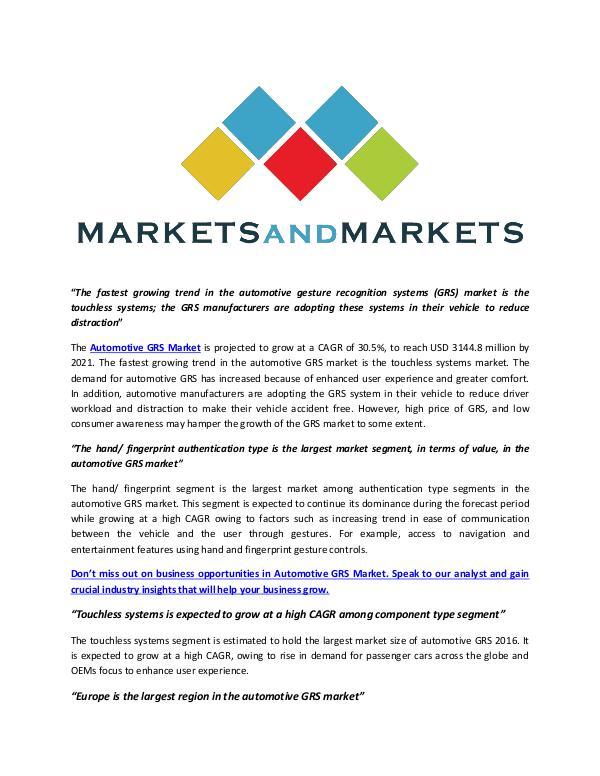 Automotive Gesture Recognition Systems Market