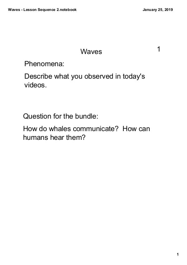 Waves Notes Waves - Lesson Sequence 2 notes ((Jan 25)