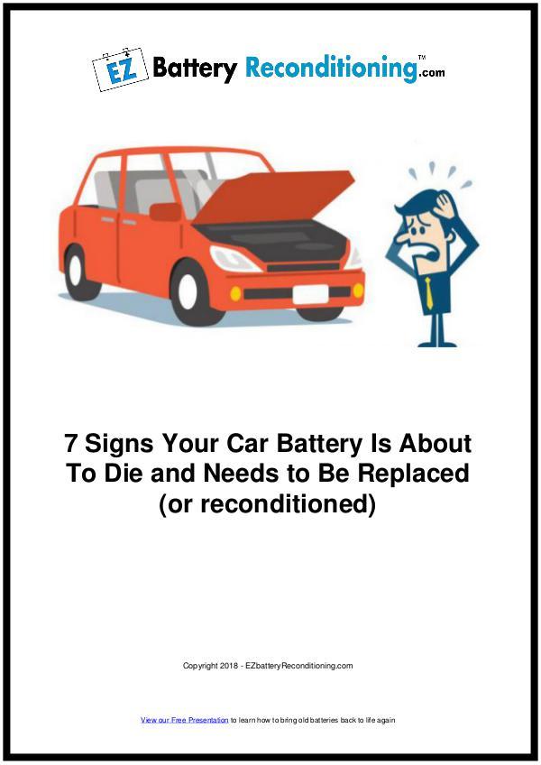 EZ Battery Reconditioning PDF Download, Course, Book Reviews EZ Battery Reconditioning PDF - 7 Signs Your Car
