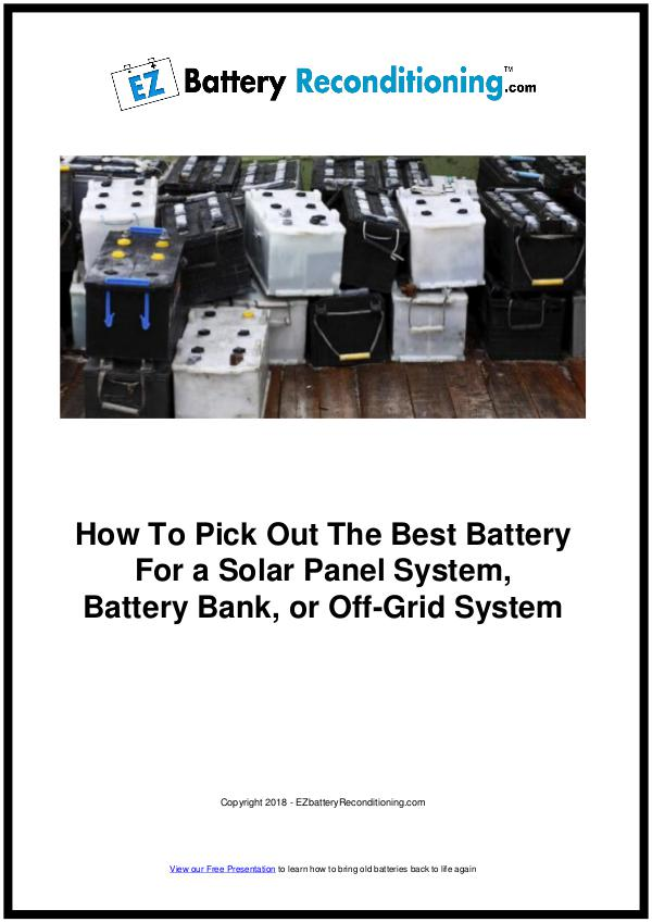 EZ Battery Reconditioning PDF Download, Course, Book Reviews EZ Battery Reconditioning PDF Solar Panel Battery
