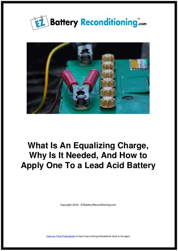 EZ Battery Reconditioning PDF Download, Course, Book Reviews EZ Battery Reconditioning PDF, Equalizing Charge