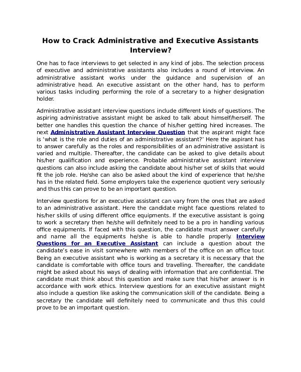 How to Crack Administrative and Executive Assistants Interview? How to Crack Administrative and Executive Assistan