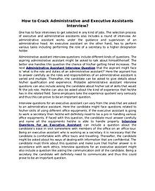 How to Crack Administrative and Executive Assistants Interview?