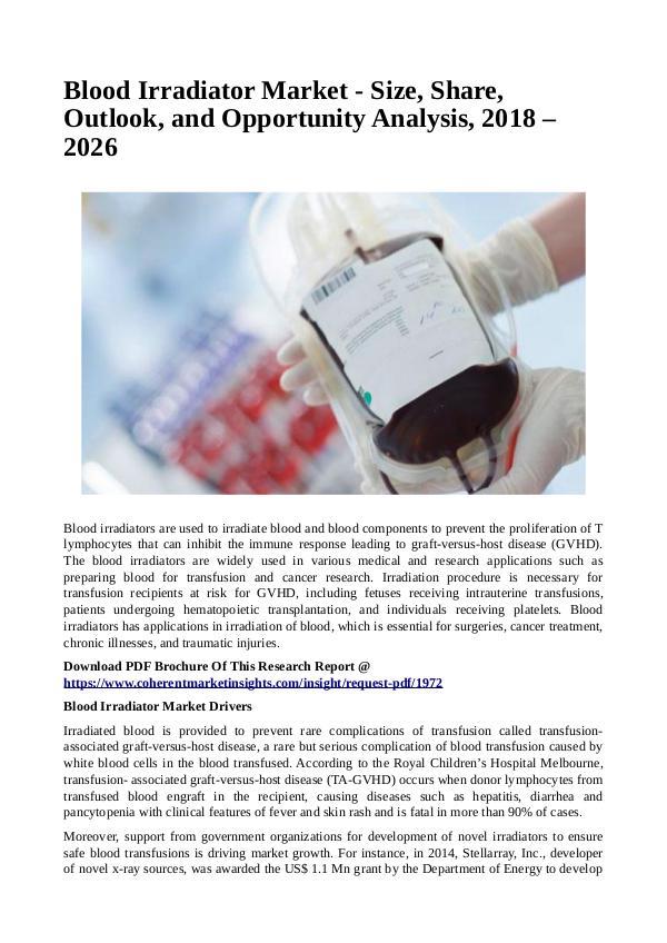 Healtcare Blood Irradiator Market