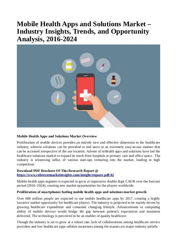 Healtcare Mobile Health Apps and Solutions Market