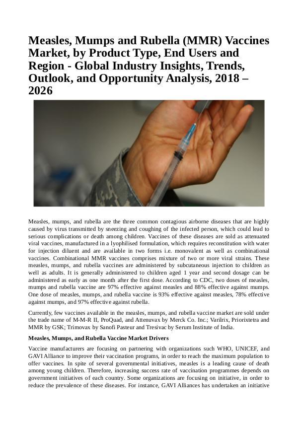 Healtcare Measles, Mumps and Rubella (MMR) Vaccines Market
