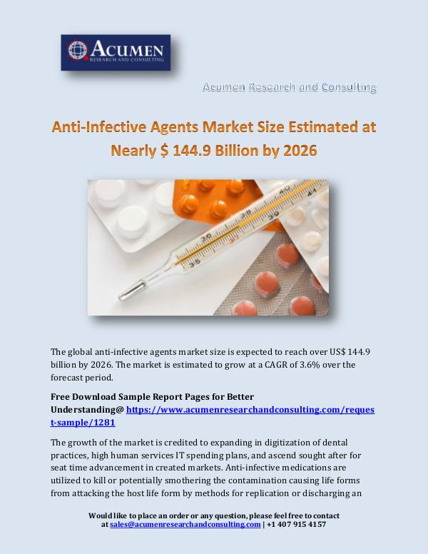 Acumen Research and Consulting Anti-Infective Agents Market Size Estimated at Nea