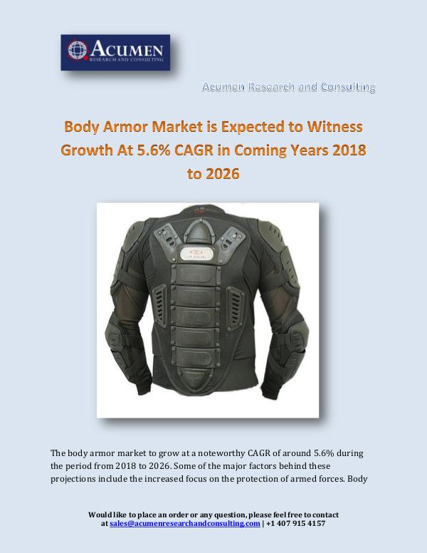 Acumen Research and Consulting Body Armor Market is Expected to Witness Growth At