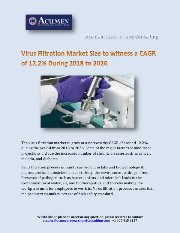 Acumen Research and Consulting Virus Filtration Market Size to witness a CAGR of