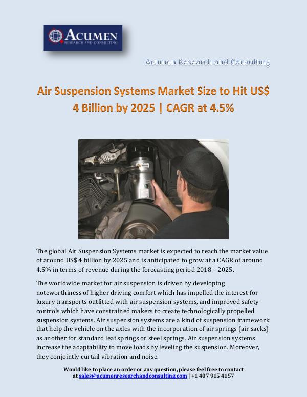 Air Suspension Systems Market Size to Hit US$ 4 Bi