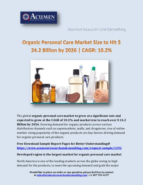 Organic Personal Care Market Size to Hit $ 24.2 Bi