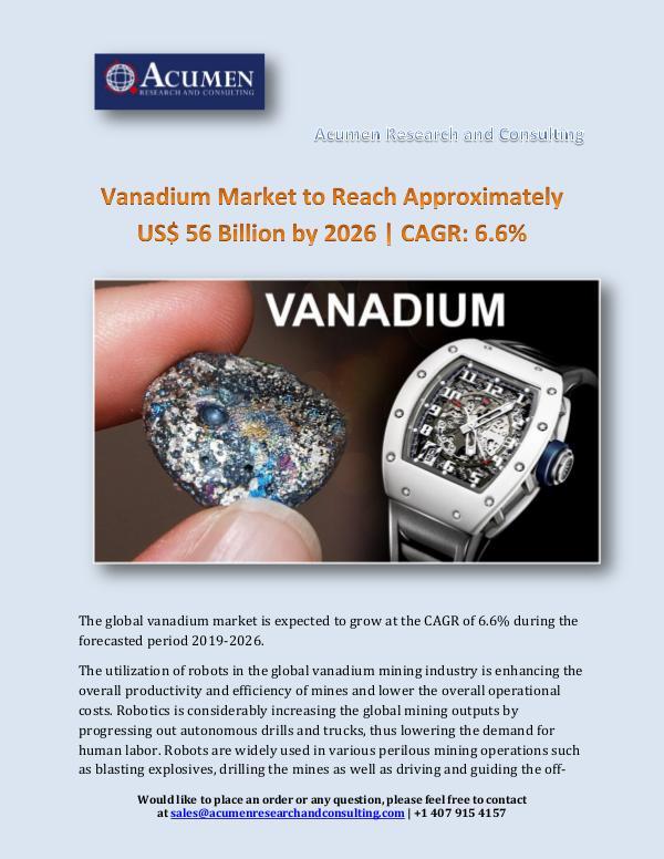 Vanadium Market Size 2018 - 2026