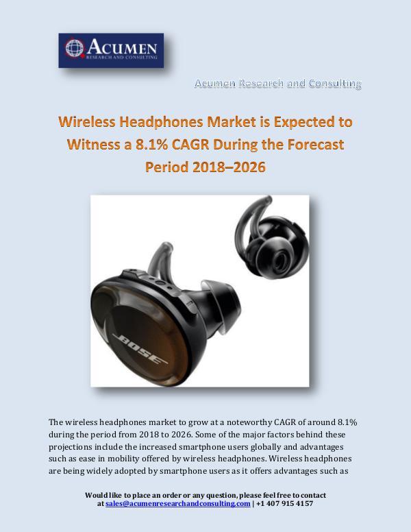 Wireless Headphones Market is Expected to Witness